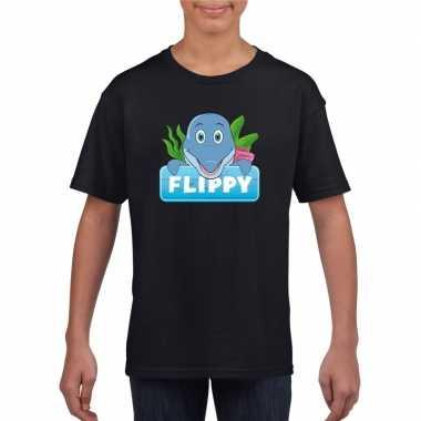 Goedkope dolfijnen dieren t shirt zwart voor kinderen