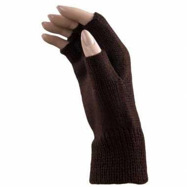 Goedkope donker bruine handschoenen zonder vingers voor volwassenen