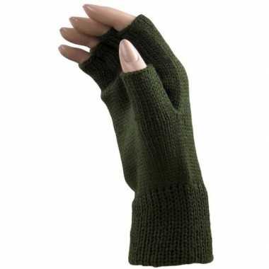 Goedkope donker groene handschoenen zonder vingers voor volwassenen