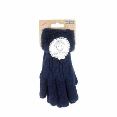 Goedkope donkerblauwe handschoenen gebreid teddy voor jongens/meisjes/kinderen