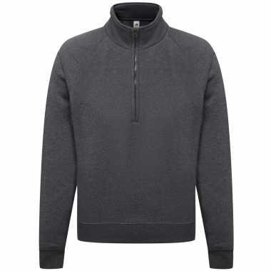 Goedkope donkergrijze fleecetrui/fleecesweater voor heren