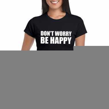 Goedkope dont worry be happy fun t shirt zwart voor dames
