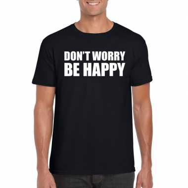Goedkope dont worry be happy fun t shirt zwart voor heren