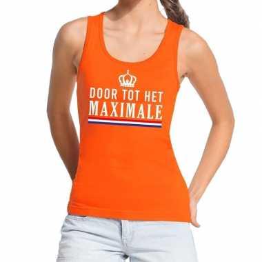 Goedkope door tot het maximale tanktop / mouwloos shirt oranje dames