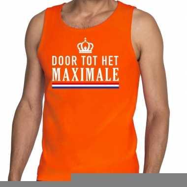 Goedkope door tot het maximale tanktop / mouwloos shirt oranje heren