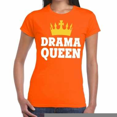 Goedkope drama queen t shirt oranje dames