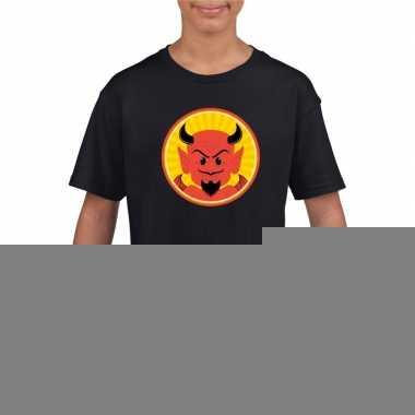 Goedkope duivel halloween t shirt zwart voor jongens en meisjes
