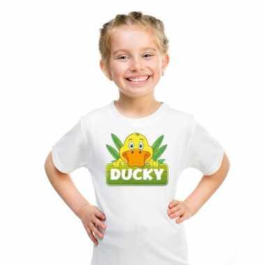 Goedkope eenden dieren t shirt wit voor kinderen