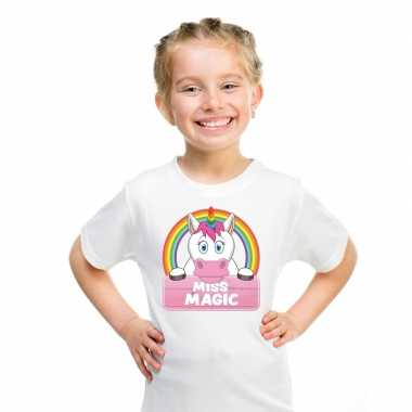 Goedkope eenhoorn dieren t shirt wit voor meisjes