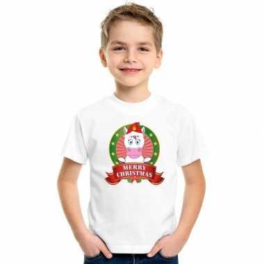 Goedkope eenhoorn kerstmis shirt wit voor kinderen