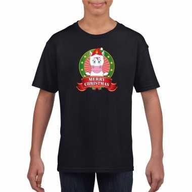 Goedkope eenhoorn kerstmis shirt zwart voor kinderen