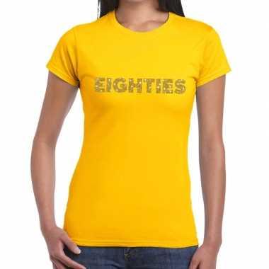 Goedkope eighties goud fun t shirt geel voor dames