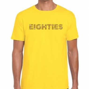 Goedkope eighties goud letters fun t shirt geel voor heren