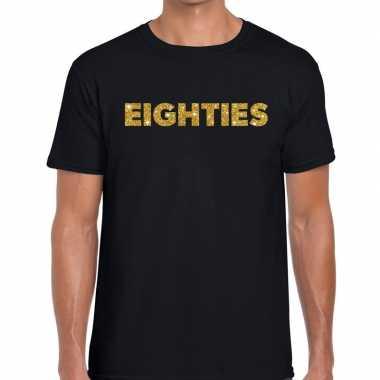 Goedkope eighties gouden letters fun t shirt zwart voor heren