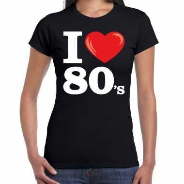 Goedkope eighties shirt met i love 80s bedrukking zwart voor dames