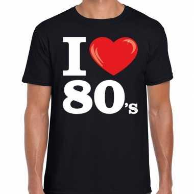 Goedkope eighties shirt met i love 80s bedrukking zwart voor heren