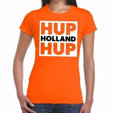 Goedkope ek / wk supporter t shirt hup holland hup oranje voor heren
