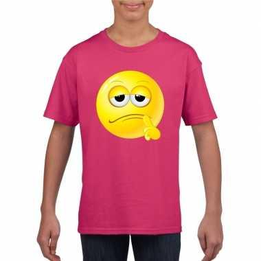 Goedkope emoticon bedenkelijk t shirt fuchsia/roze kinderen