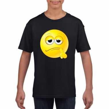 Goedkope emoticon bedenkelijk t shirt zwart kinderen