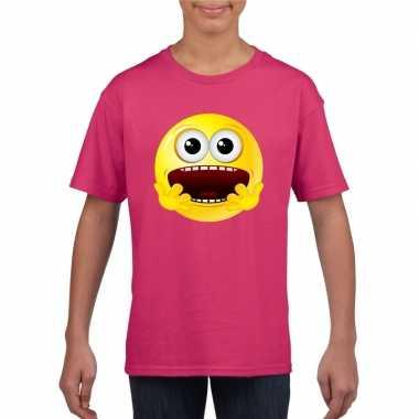 Goedkope emoticon geschrokken t shirt fuchsia/roze kinderen