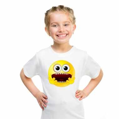Goedkope emoticon geschrokken t shirt wit kinderen