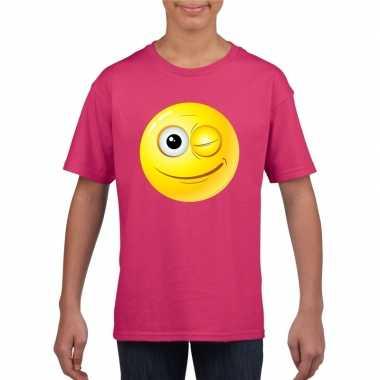 Goedkope emoticon knipoog t shirt fuchsia/roze kinderen