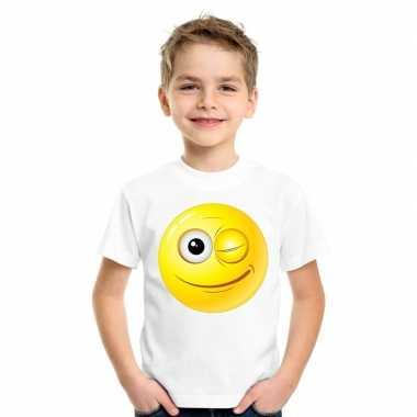Goedkope emoticon knipoog t shirt wit kinderen