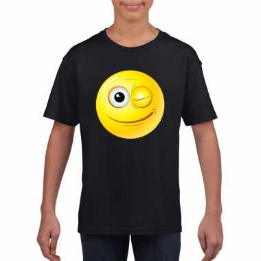 Goedkope emoticon knipoog t shirt zwart kinderen