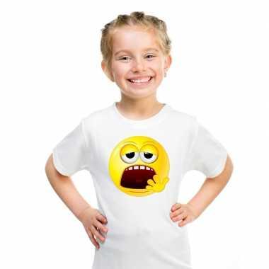 Goedkope emoticon moe t shirt wit kinderen