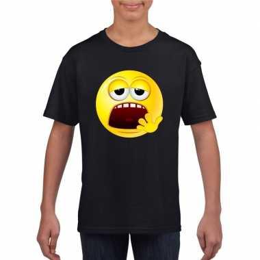 Goedkope emoticon moe t shirt zwart kinderen