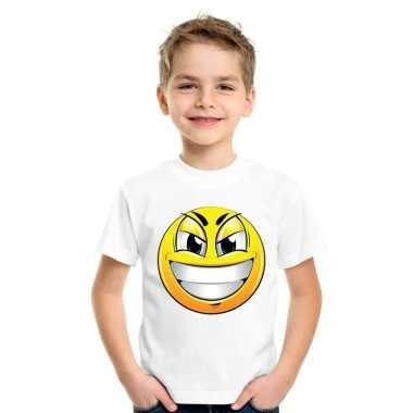 Goedkope emoticon ondeugend t shirt wit kinderen