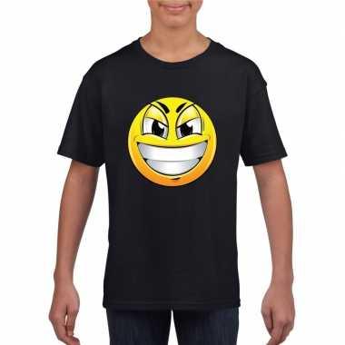 Goedkope emoticon ondeugend t shirt zwart kinderen