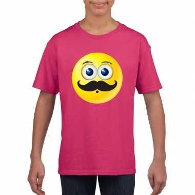 Goedkope emoticon snor t shirt fuchsia/roze kinderen