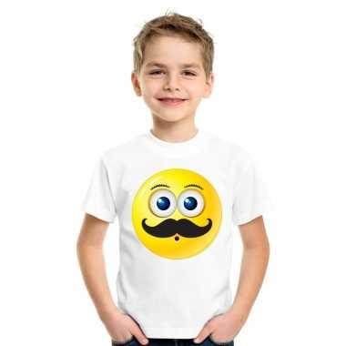Goedkope emoticon snor t shirt wit kinderen