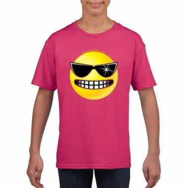 Goedkope emoticon stoer t shirt fuchsia/roze kinderen