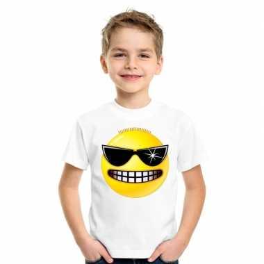 Goedkope emoticon stoer t shirt wit kinderen