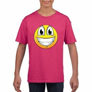 Goedkope emoticon super vrolijk t shirt fuchsia/roze kinderen