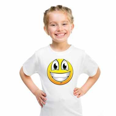 Goedkope emoticon super vrolijk t shirt wit kinderen
