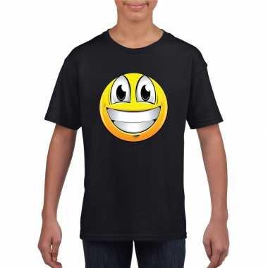 Goedkope emoticon super vrolijk t shirt zwart kinderen