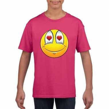 Goedkope emoticon verliefd t shirt fuchsia/roze kinderen