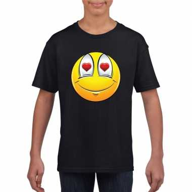 Goedkope emoticon verliefd t shirt zwart kinderen