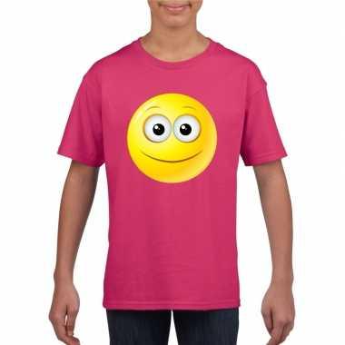 Goedkope emoticon vrolijk t shirt fuchsia/roze kinderen