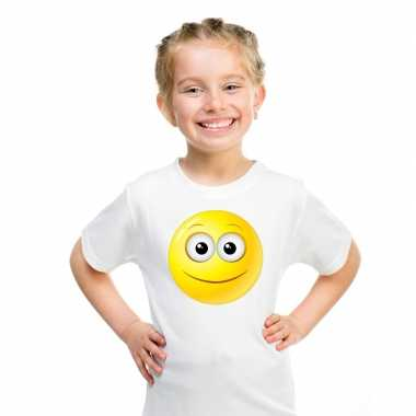 Goedkope emoticon vrolijk t shirt wit kinderen