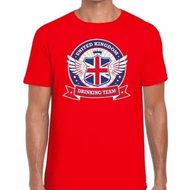 Goedkope engeland drinking team t shirt rood heren