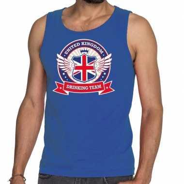 Goedkope engeland drinking team tanktop / mouwloos shirt blauw heren