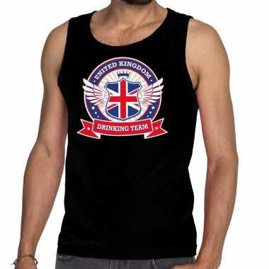 Goedkope engeland drinking team tanktop / mouwloos shirt zwart heren