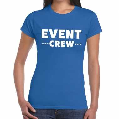 Goedkope evenement crew t shirt blauw met event crew bedrukking voor