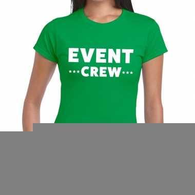 Goedkope evenement crew t shirt groen met event crew bedrukking voor