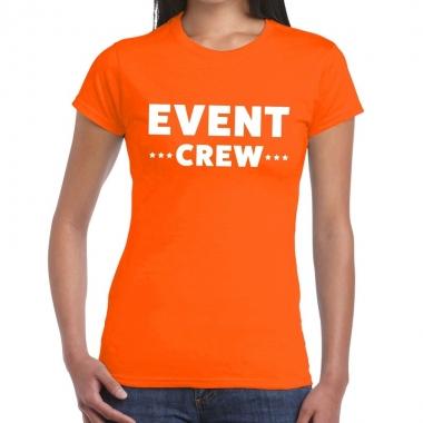 Goedkope evenement crew t shirt oranje met event crew bedrukking voor