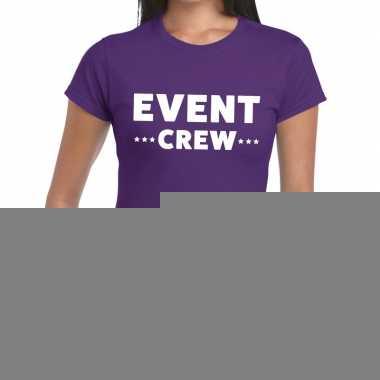 Goedkope evenement crew t shirt paars met event crew bedrukking voor